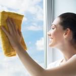 10537079 - young woman washing windows